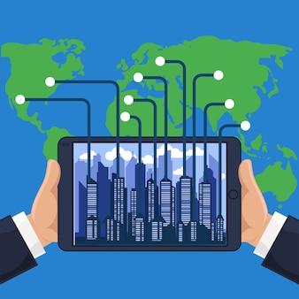 Ciudad futurista en un teléfono con dispositivo moderno de diferentes partes del estilo de diseño plano del mundo de dibujos animados