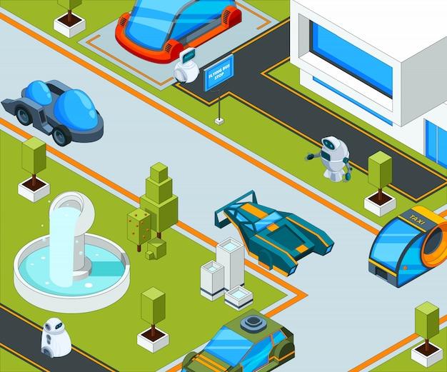 Ciudad futurista con transporte. paisaje de la ciudad con varios automóviles