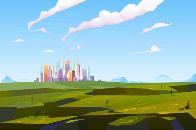 Ciudad futurista en valle verde entre montañas
