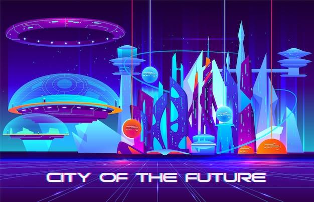 Ciudad del futuro banner de dibujos animados. arquitectura futurista rascacielos edificios fluorescentes