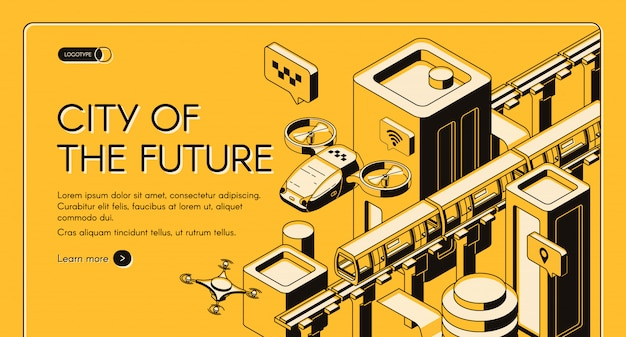 Ciudad del futuro vector isométrico web banner, plantilla de página de destino.