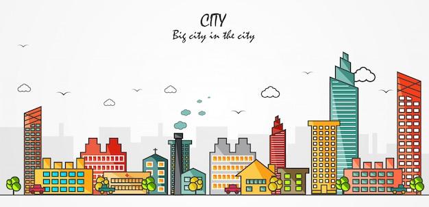 Ciudad gran ciudad en la ilustración de vector de ciudad