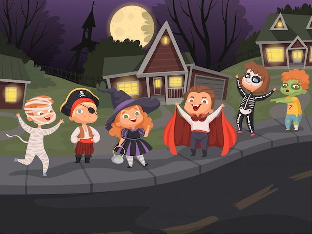 Ciudad de halloween. disfraces para niños noche de terror fiesta de halloween de miedo paisaje urbano monstruos espeluznantes caminando
