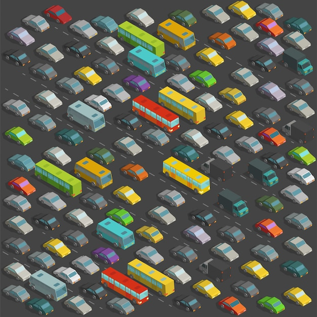 Ciudad horrores atascos vista de proyección isométrica. una gran cantidad de ilustración de automóviles en el fondo