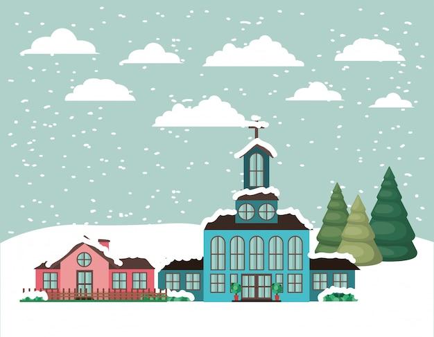 Ciudad con iglesia en paisaje nevado.