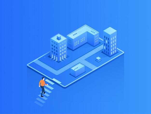 Ciudad de ilustración isométrica