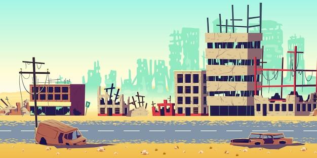 Ciudad en la ilustración de vector de dibujos animados de zona de guerra