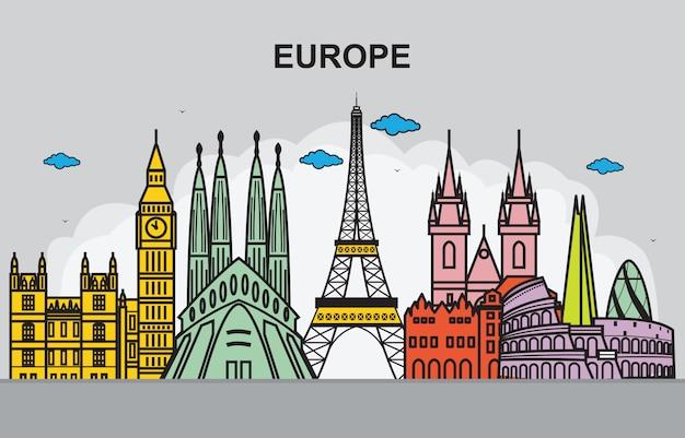 Ciudad en ilustración de viajes de horizonte de paisaje urbano de europa