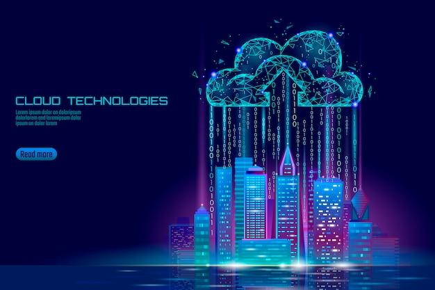 Ciudad inteligente 3d luz nube informática paisaje urbano.