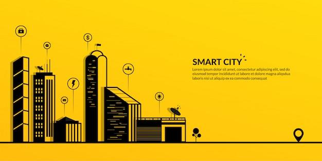 Ciudad inteligente con el banner de metrópolis conectada