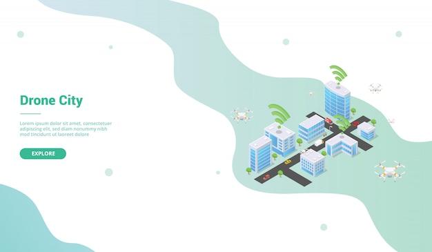 Ciudad inteligente con dron para plantilla de sitio web o página de inicio de aterrizaje con estilo isométrico