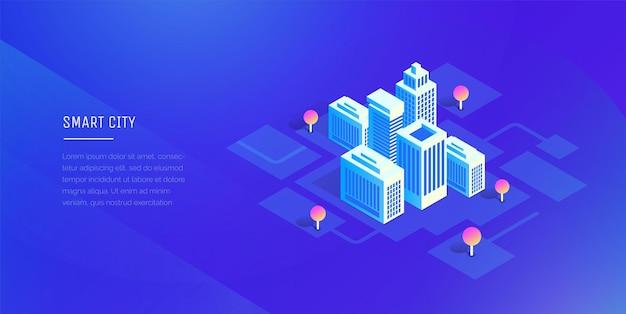 Ciudad inteligente edificios futuristas sobre un fondo ultravioleta abstracto estilo isométrico de ilustración moderna