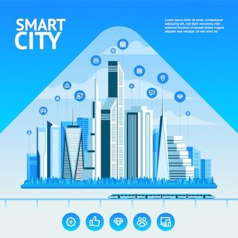 Ciudad inteligente. elementos de infografía urbana. ciudad moderna.
