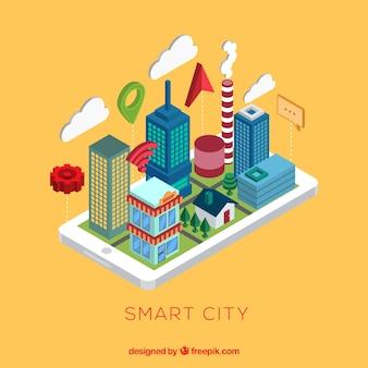 Ciudad inteligente en estilo isométrico