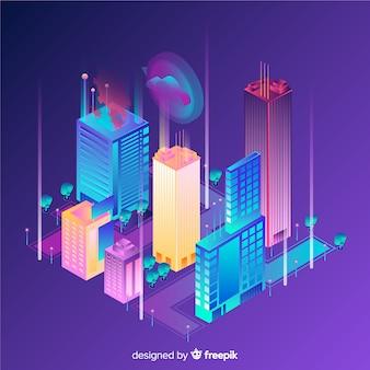 Ciudad inteligente de estilo isométrico