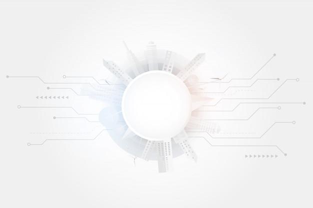 Ciudad inteligente y fondo de conexión de alta tecnología gris y blanco