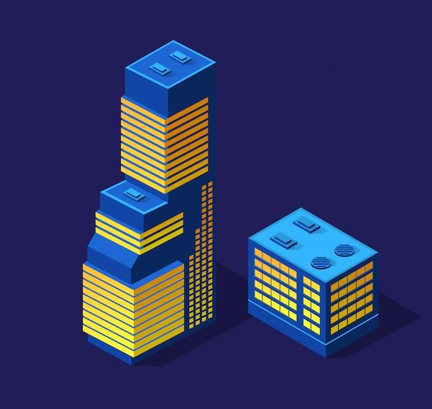 Ciudad inteligente de ilustración 3d en un ultravioleta púrpura