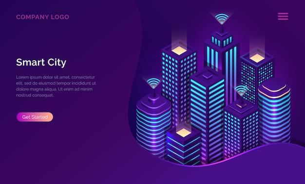 Ciudad inteligente, internet de las cosas o red inalámbrica isométrica