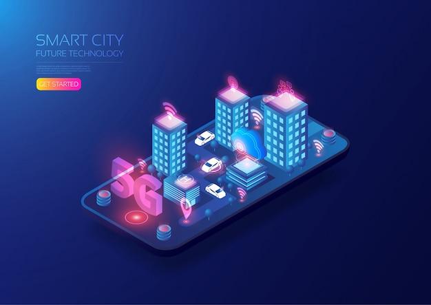 Ciudad inteligente isométrica 5g