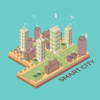 Ciudad inteligente isométrica plana 3d