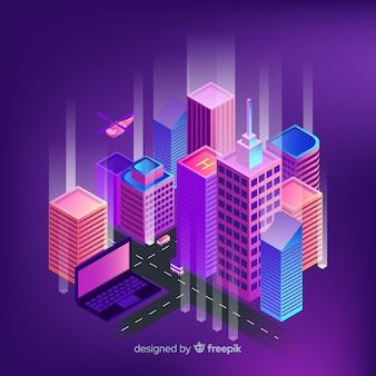 Ciudad inteligente isométrica