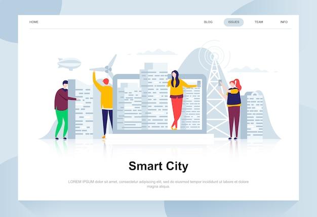 Ciudad inteligente moderno concepto de diseño plano.