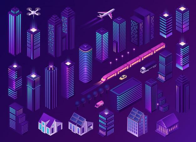Ciudad inteligente con modernos edificios y transporte.