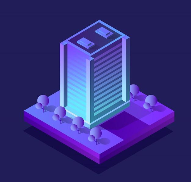 Ciudad inteligente de neón de estilo ultravioleta