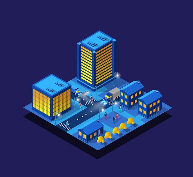 Ciudad inteligente noche neón ultravioleta conjunto de edificios isométricos casas