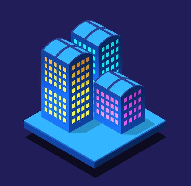 Ciudad inteligente noche neón ultravioleta de edificios isométricos.