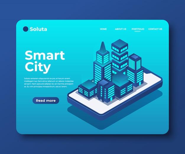 Ciudad inteligente o banner isométrico de edificio inteligente para página de inicio