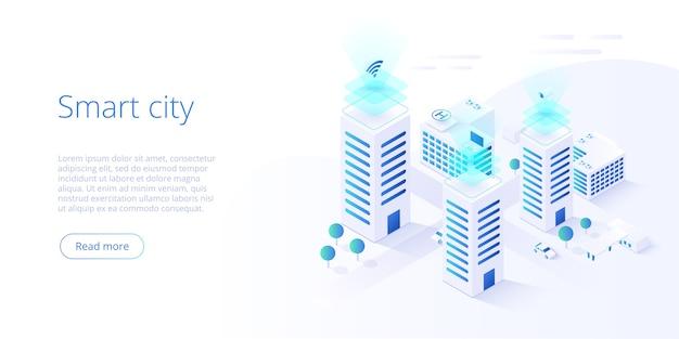 Ciudad inteligente o concepto isométrico de edificio inteligente.