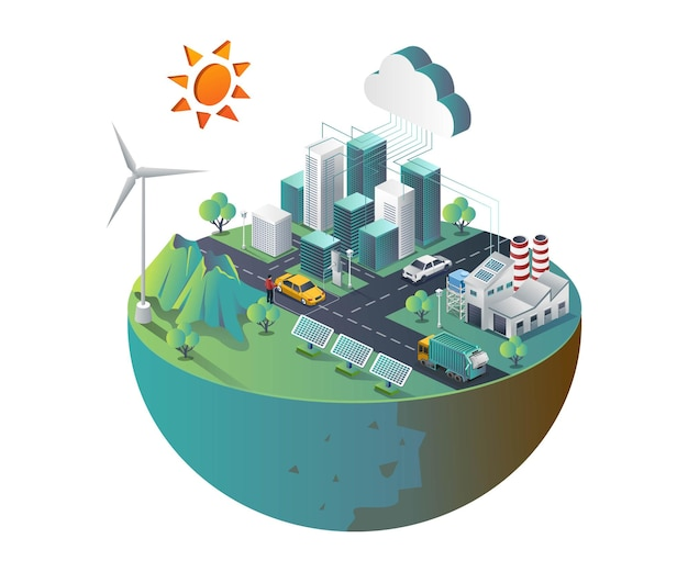 Ciudad inteligente con servidor en la nube y paneles solares