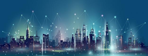 Ciudad inteligente y tecnología de red de comunicación inalámbrica en rascacielos del centro.