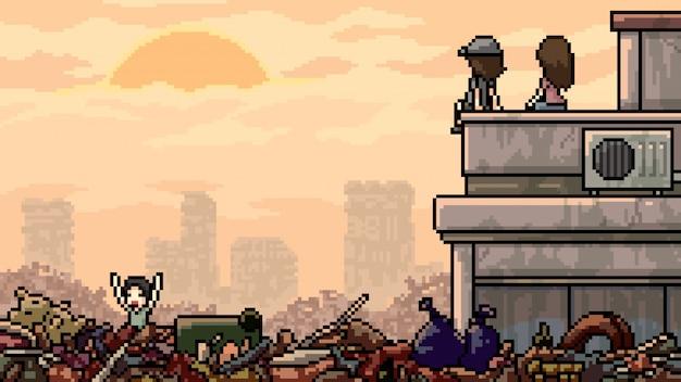 Ciudad de inundación basura de pixel art escena