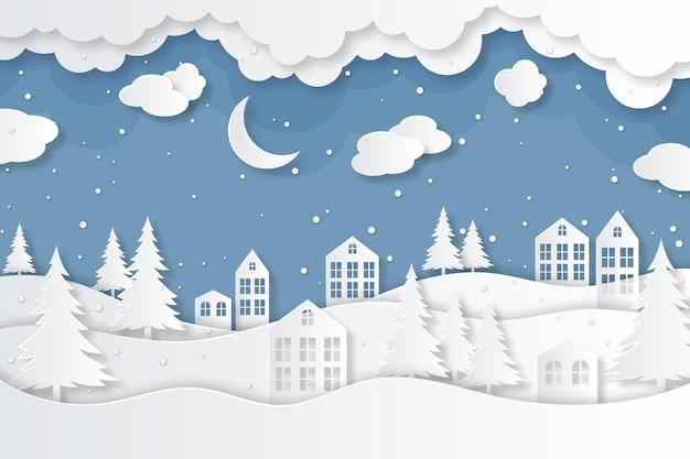 Ciudad en invierno en fondo estilo papel