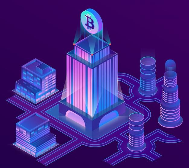 Ciudad isométrica 3d en colores ultravioletas con bitcoin encima del rascacielos.