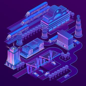 Ciudad isométrica 3d en colores ultravioleta con edificios modernos, rascacielos, estación de tren