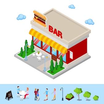 Ciudad isométrica bar de comida rápida con mesa y árboles. ilustración vectorial