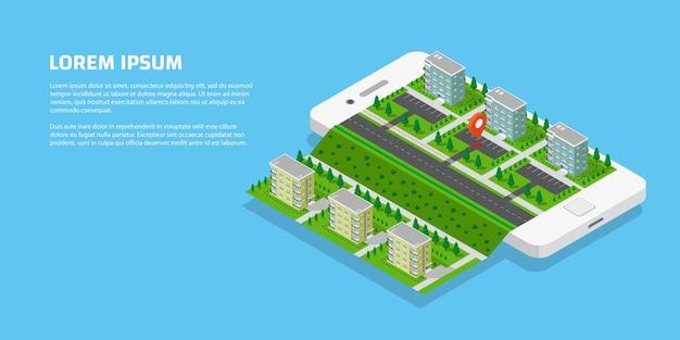Ciudad isométrica con carreteras y edificios en teléfonos inteligentes. mapa en aplicación móvil. ilustración vectorial 3d. concepto de navegación móvil.