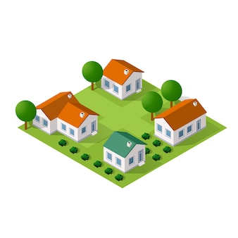 Ciudad isométrica con casas y calles con árboles.