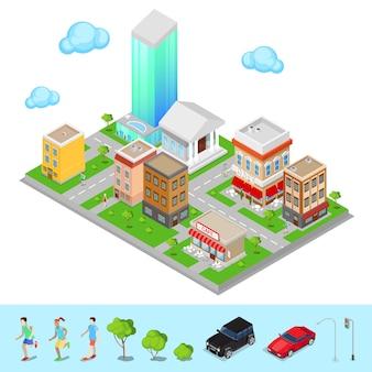 Ciudad isométrica distrito de la ciudad moderna. ilustración vectorial