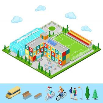 Ciudad isométrica edificio escolar con piscina y campo de fútbol