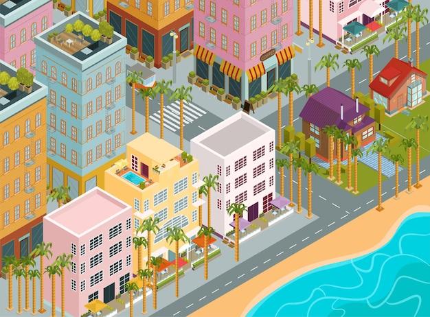 Ciudad isométrica, ilustración