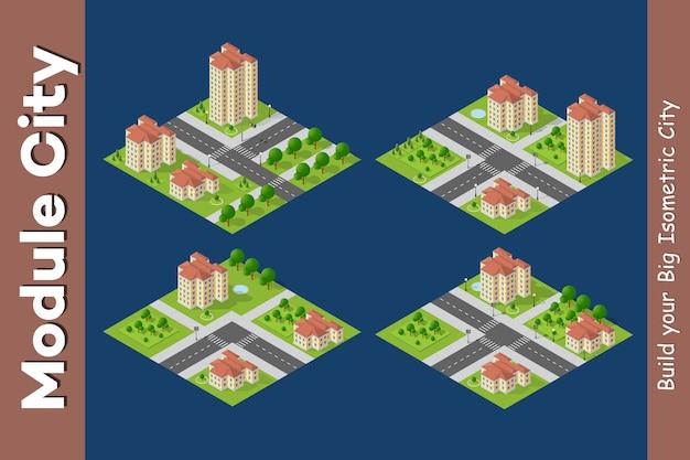 Ciudad isométrica de infraestructura urbana