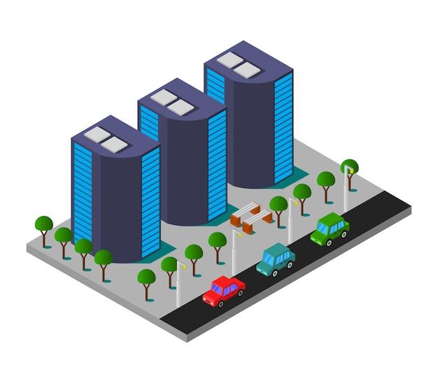 Ciudad isométrica con rascacielos