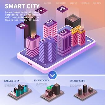 Ciudad isométrica con rascacielos.