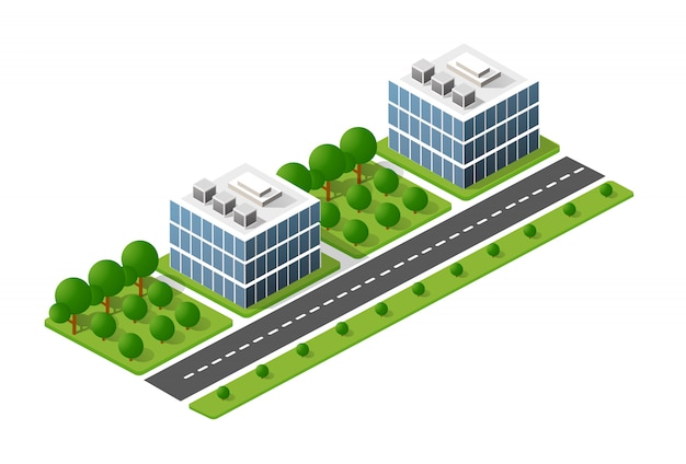 La ciudad isométrica con rascacielos de
