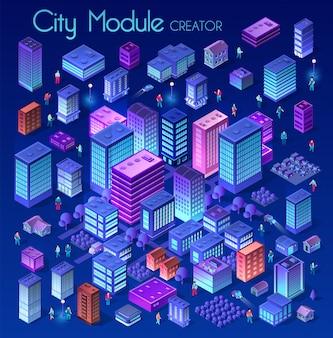 Ciudad isométrica ultravioleta