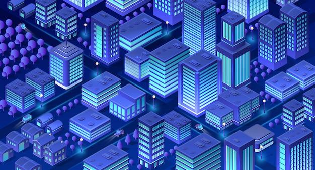 Ciudad isométrica de violeta.